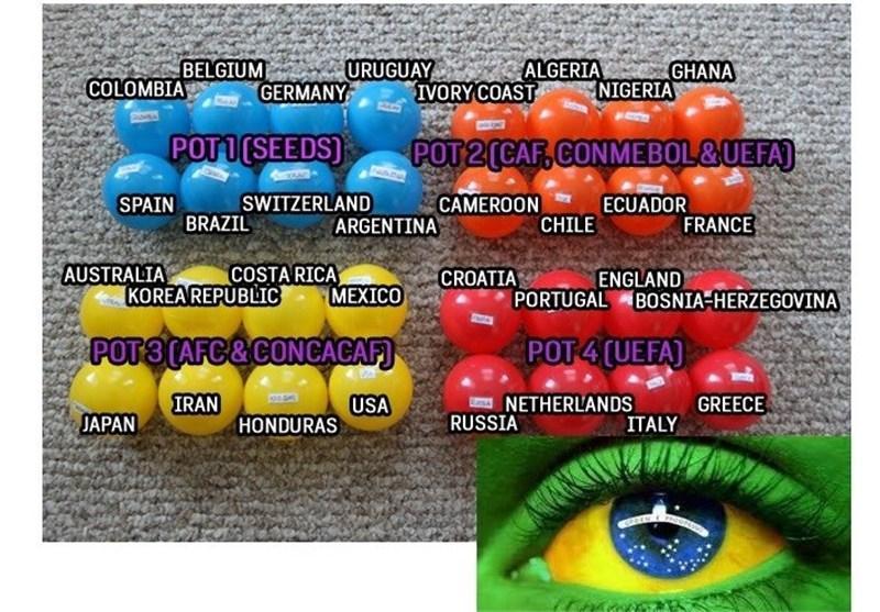 ایران با آرژانتین، نیجریه و بوسنی هم گروه شد، ایتالیا به انگلیس خورد، هلند به اسپانیا