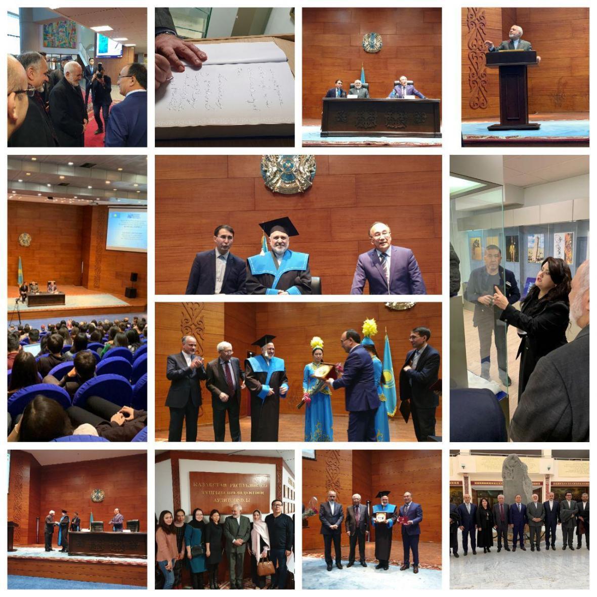 اعطای پروفسور افتخاری دانشگاه قزاقستان به ظریف (